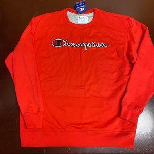 Champion Red Chain Stitch Script Logo Sweatshirt